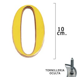 """Numero Latón """"0"""" 10 cm. con Tornilleria Oculta (Blister 1 Pieza)"""